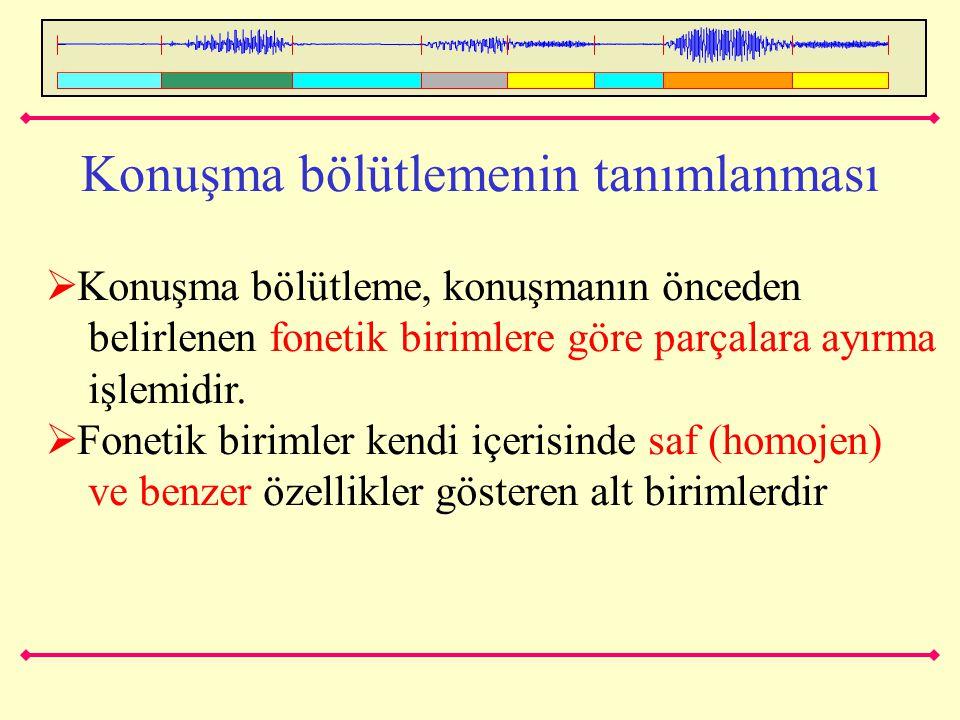Konuşma bölütlemenin tanımlanması  Konuşma bölütleme, konuşmanın önceden belirlenen fonetik birimlere göre parçalara ayırma işlemidir.  Fonetik biri