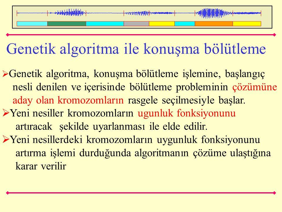 Genetik algoritma ile konuşma bölütleme  Genetik algoritma, konuşma bölütleme işlemine, başlangıç nesli denilen ve içerisinde bölütleme probleminin ç