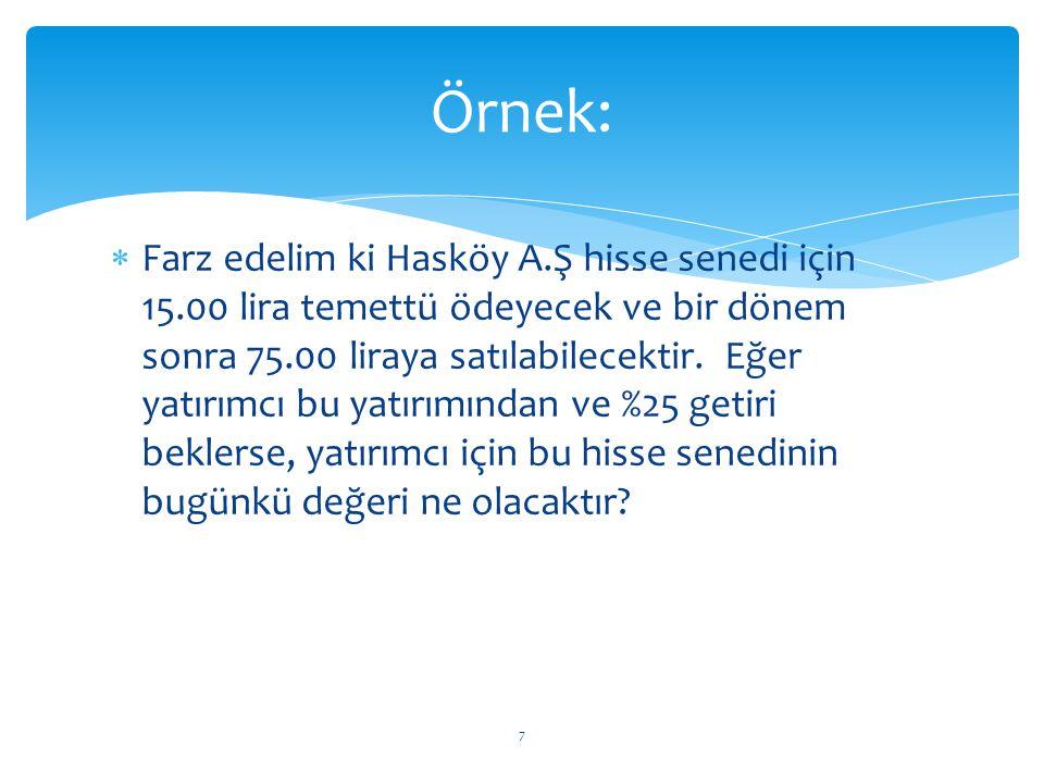  Farz edelim ki Hasköy A.Ş hisse senedi için 15.00 lira temettü ödeyecek ve bir dönem sonra 75.00 liraya satılabilecektir. Eğer yatırımcı bu yatırımı
