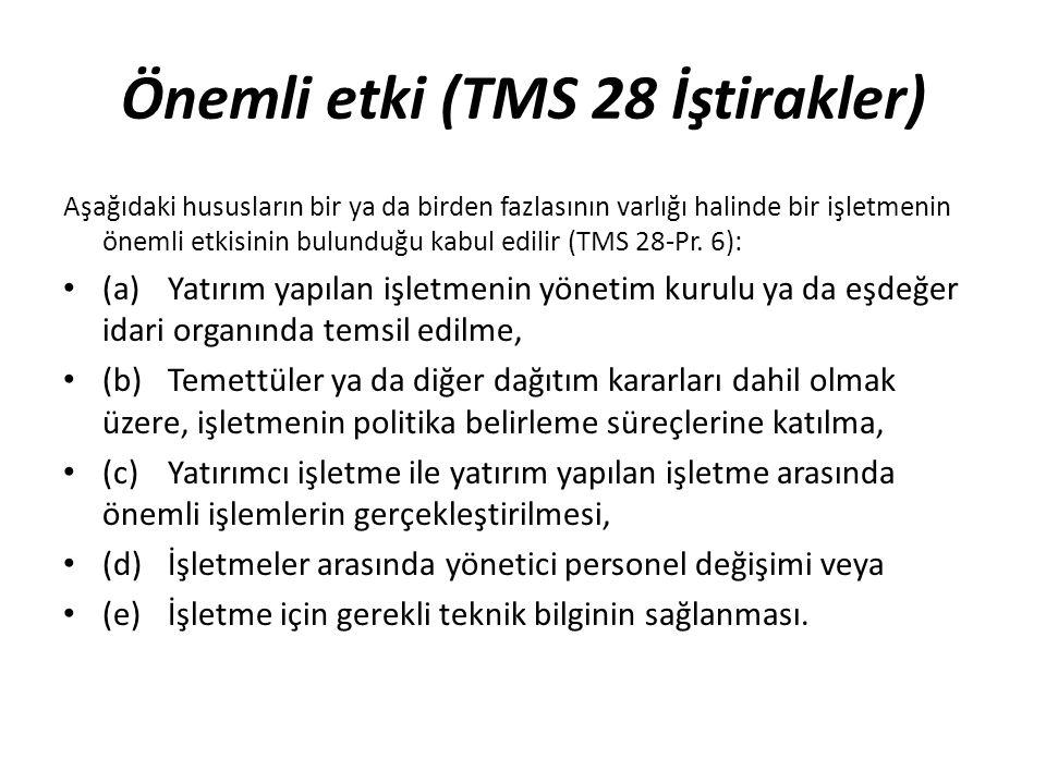 Önemli etki (TMS 28 İştirakler) Aşağıdaki hususların bir ya da birden fazlasının varlığı halinde bir işletmenin önemli etkisinin bulunduğu kabul edili