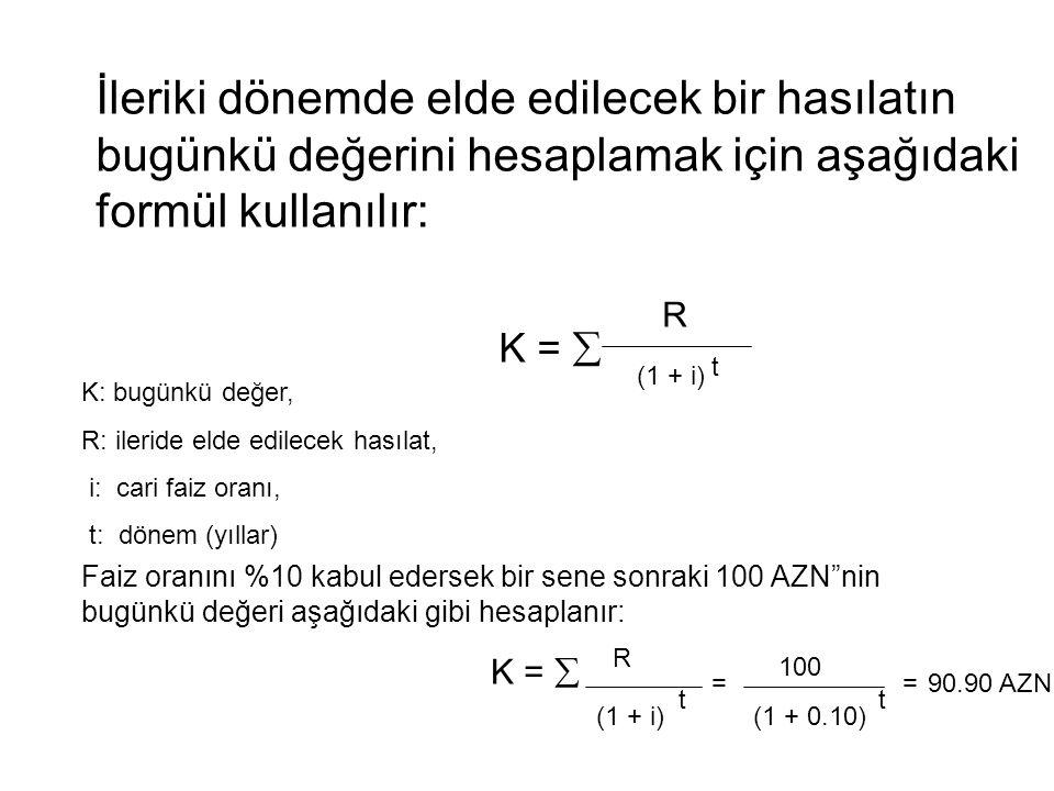 İleriki dönemde elde edilecek bir hasılatın bugünkü değerini hesaplamak için aşağıdaki formül kullanılır: K =  (1 + i) t R Faiz oranını %10 kabul ede