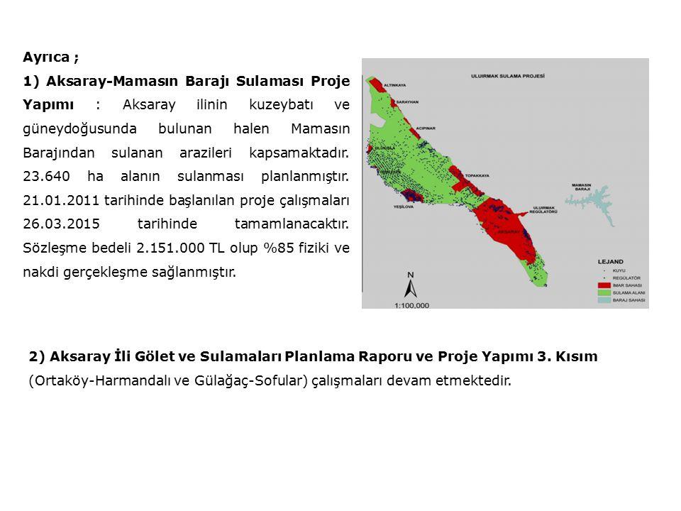 Ayrıca ; 1) Aksaray-Mamasın Barajı Sulaması Proje Yapımı : Aksaray ilinin kuzeybatı ve güneydoğusunda bulunan halen Mamasın Barajından sulanan arazile
