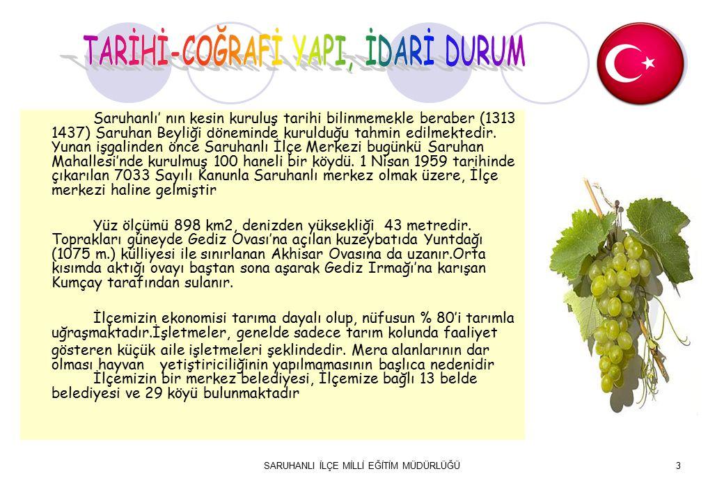 3 Saruhanlı' nın kesin kuruluş tarihi bilinmemekle beraber (1313 1437) Saruhan Beyliği d öneminde kurulduğu tahmin edilmektedir.
