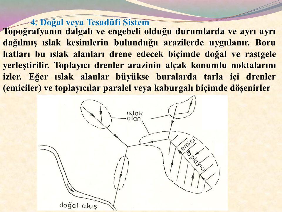 4. Doğal veya Tesadüfi Sistem Topoğrafyanın dalgalı ve engebeli olduğu durumlarda ve ayrı ayrı dağılmış ıslak kesimlerin bulunduğu arazilerde uygulanı
