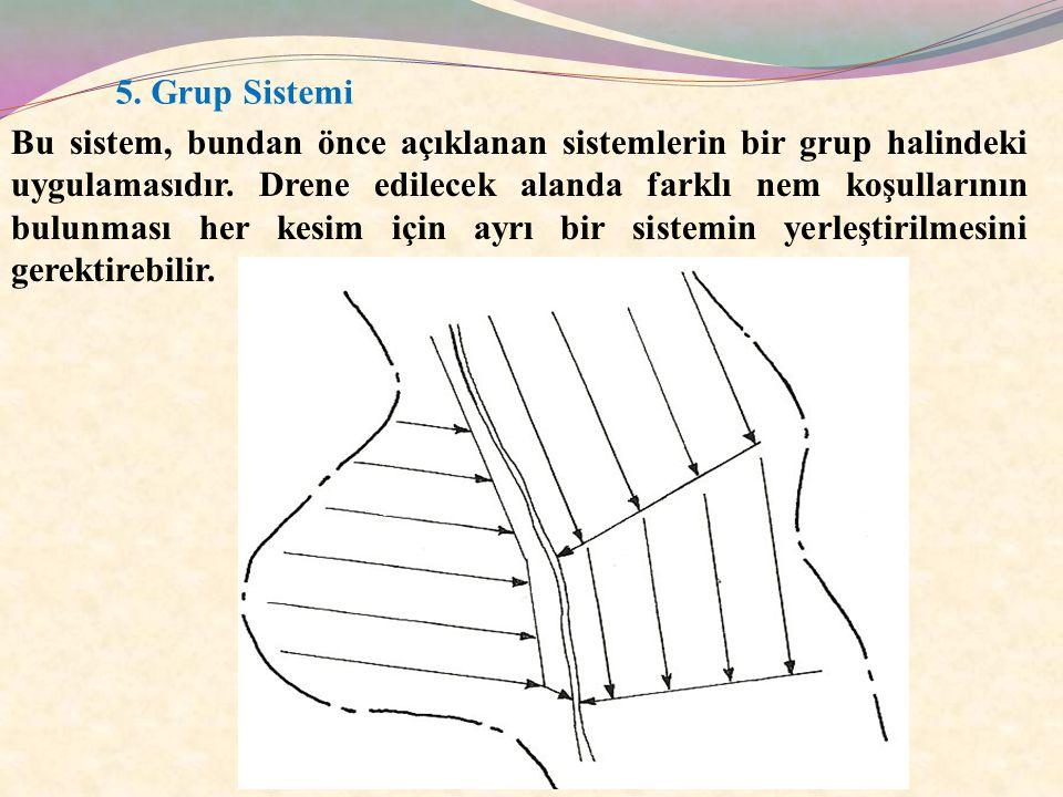 5. Grup Sistemi Bu sistem, bundan önce açıklanan sistemlerin bir grup halindeki uygulamasıdır. Drene edilecek alanda farklı nem koşullarının bulunması