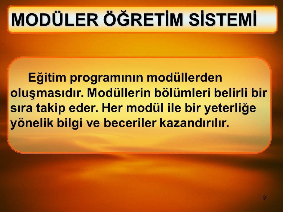 3 Eğitim programının modüllerden oluşmasıdır. Modüllerin bölümleri belirli bir sıra takip eder. Her modül ile bir yeterliğe yönelik bilgi ve beceriler