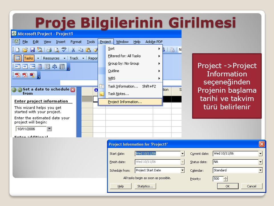 Proje Bilgilerinin Girilmesi Project ->Project Information seçeneğinden Projenin başlama tarihi ve takvim türü belirlenir