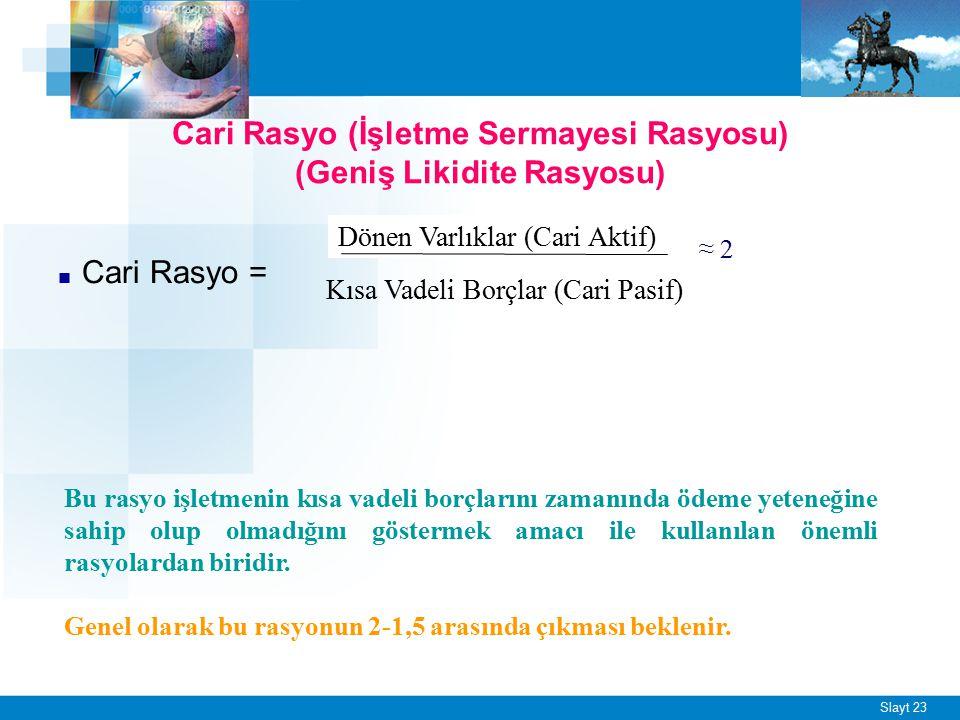 Slayt 23 Cari Rasyo (İşletme Sermayesi Rasyosu) (Geniş Likidite Rasyosu) ■ Cari Rasyo = Dönen Varlıklar (Cari Aktif) Kısa Vadeli Borçlar (Cari Pasif)