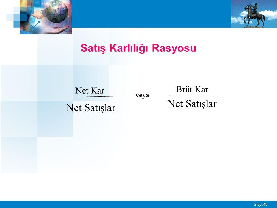 Slayt 48 Satış Karlılığı Rasyosu Net Satışlar Brüt Kar Net Kar veya Net Satışlar