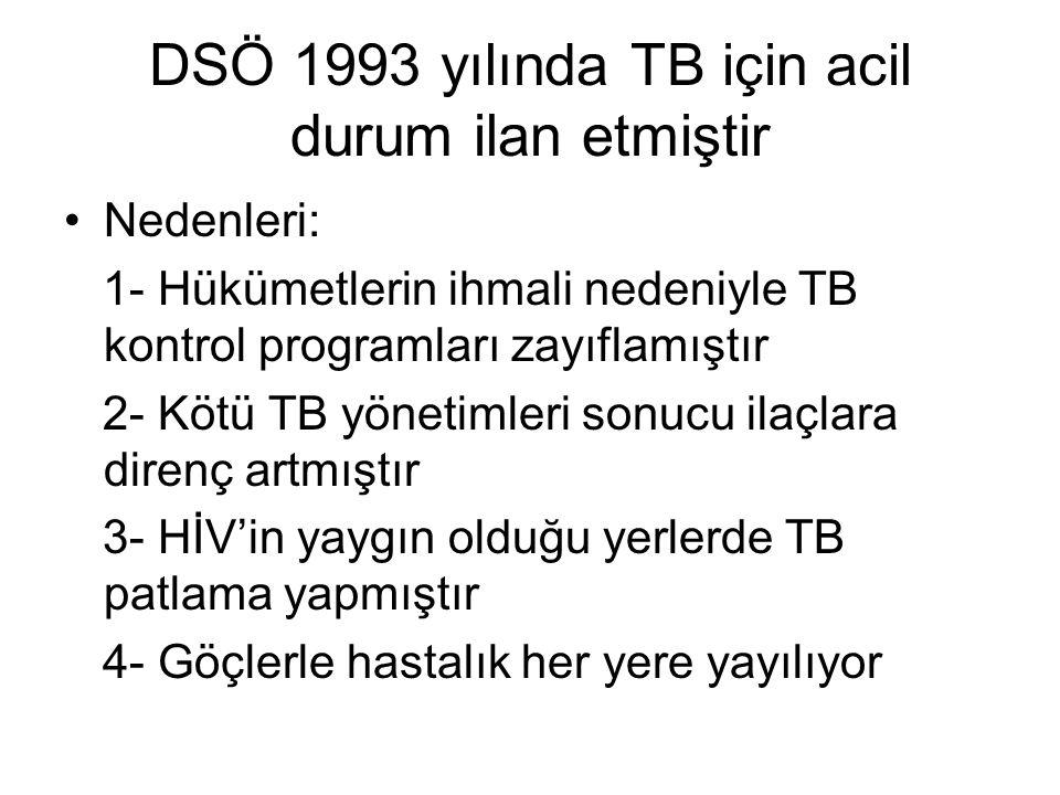 DSÖ 1993 yılında TB için acil durum ilan etmiştir Nedenleri: 1- Hükümetlerin ihmali nedeniyle TB kontrol programları zayıflamıştır 2- Kötü TB yönetimleri sonucu ilaçlara direnç artmıştır 3- HİV'in yaygın olduğu yerlerde TB patlama yapmıştır 4- Göçlerle hastalık her yere yayılıyor