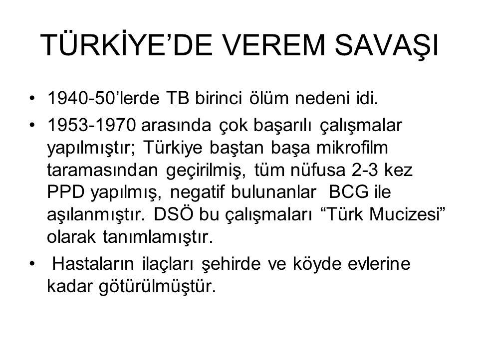 TÜRKİYE'DE VEREM SAVAŞI 1940-50'lerde TB birinci ölüm nedeni idi. 1953-1970 arasında çok başarılı çalışmalar yapılmıştır; Türkiye baştan başa mikrofil