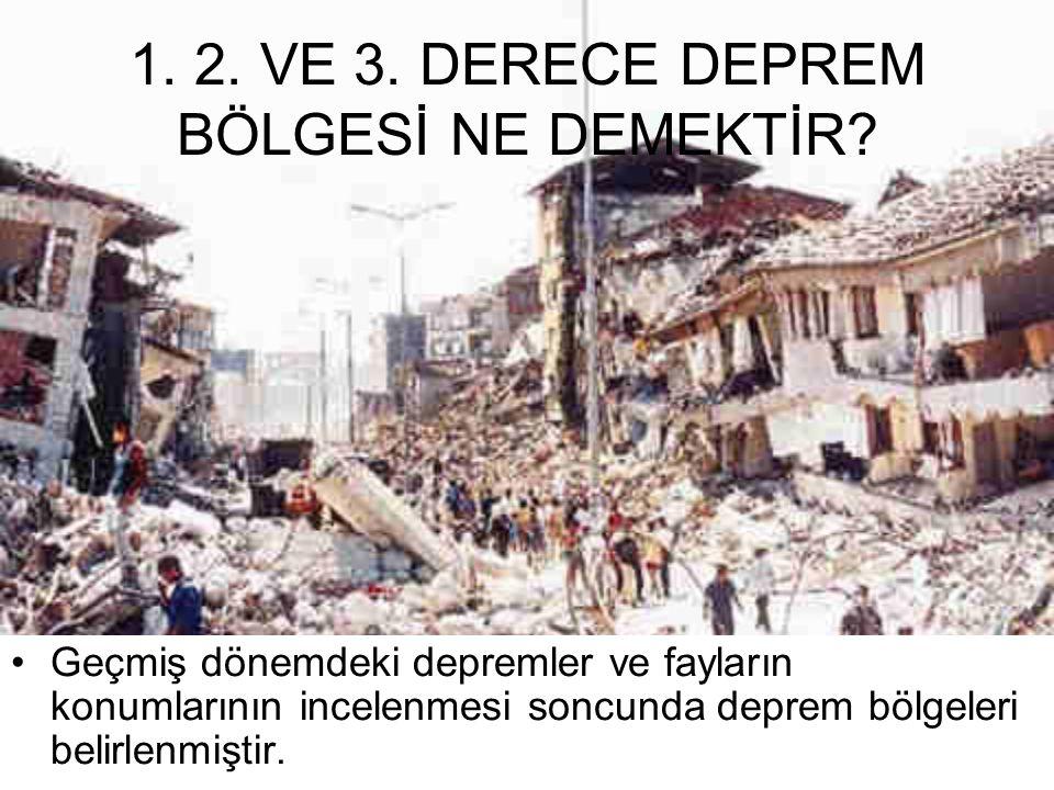 1.2. VE 3. DERECE DEPREM BÖLGESİ NE DEMEKTİR.