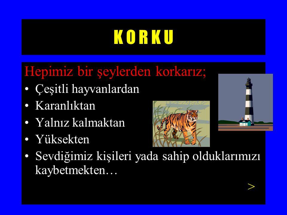 K O R K U İnsanın canının, malının, sevdiklerinin, inançlarının ve toplum içindeki yerinin tehdit edildiği durumlarda yaşanan bedensel belirtilerin eşlik ettiği duygusal bir tepkidir.