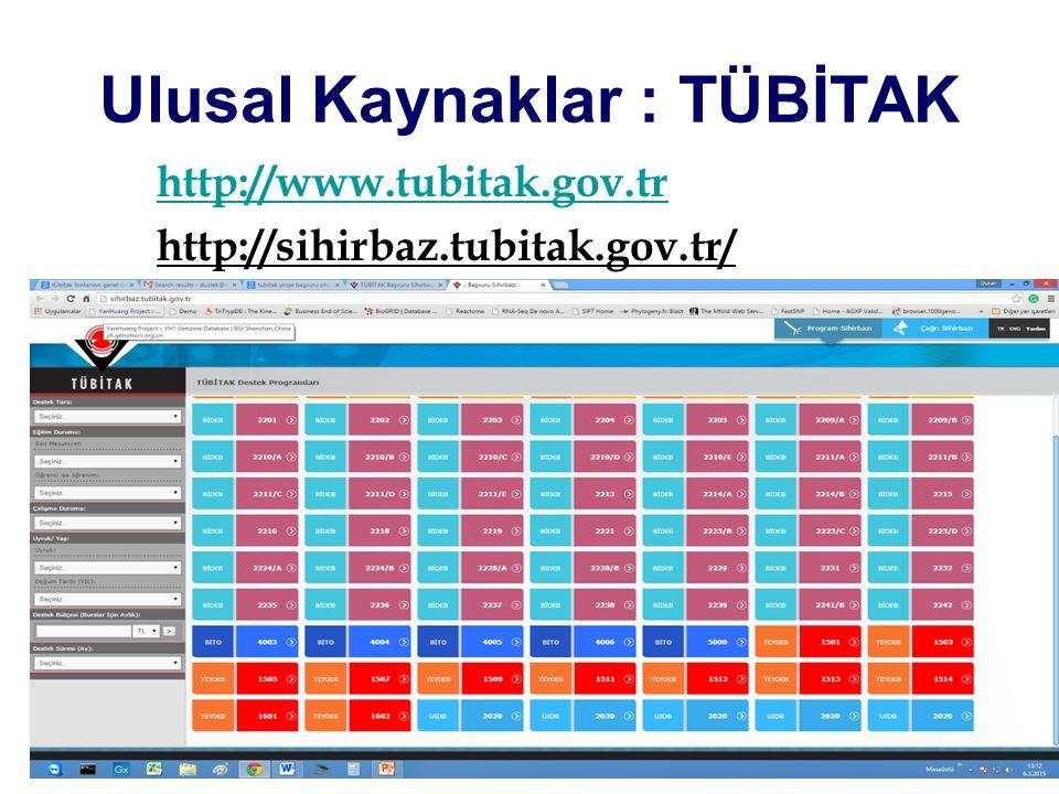 Ulusal Kaynaklar : TÜBİTAK http://www.tubitak.gov.tr http://sihirbaz.tubitak.gov.tr/