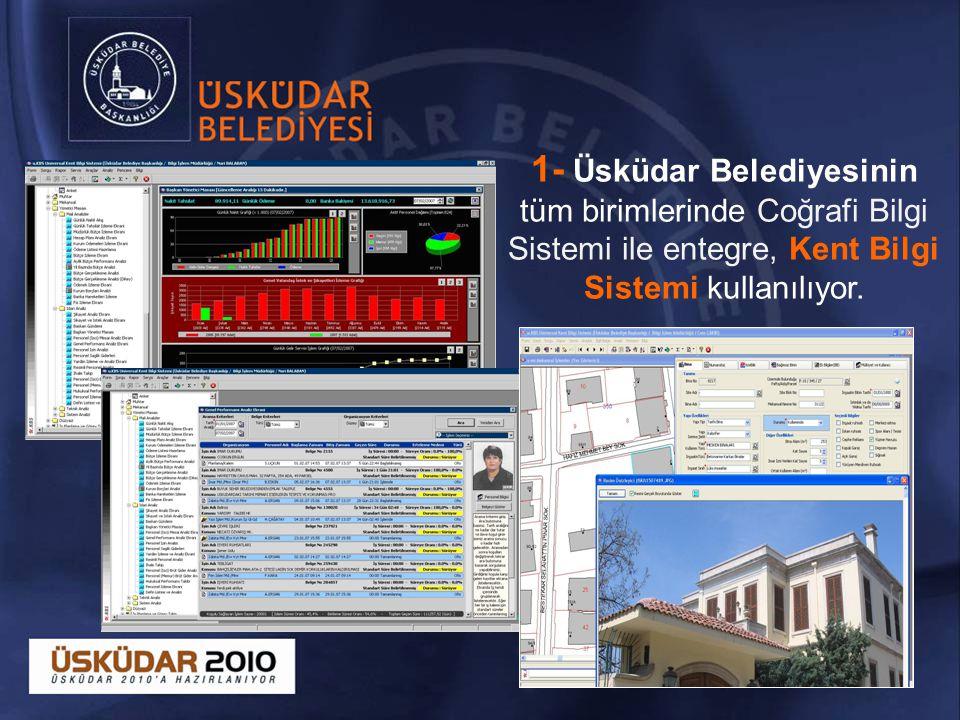 1- Üsküdar Belediyesinin tüm birimlerinde Coğrafi Bilgi Sistemi ile entegre, Kent Bilgi Sistemi kullanılıyor.