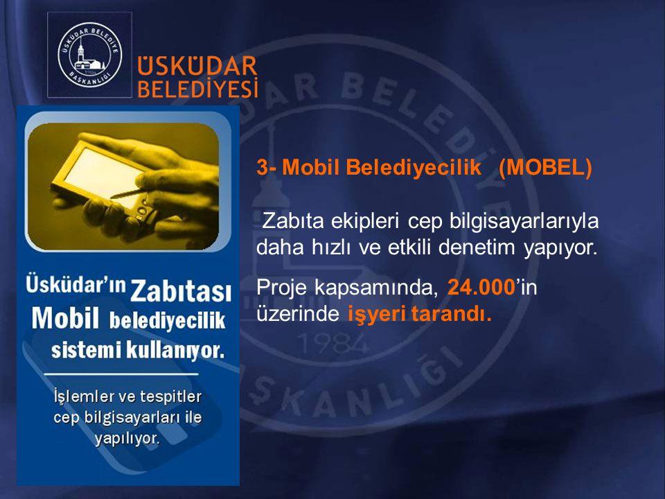 3- Mobil Belediyecilik (MOBEL) Zabıta ekipleri cep bilgisayarlarıyla daha hızlı ve etkili denetim yapıyor.