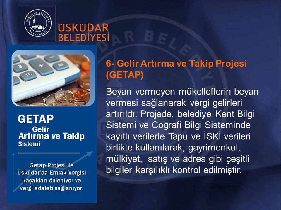 6- Gelir Artırma ve Takip Projesi (GETAP) Beyan vermeyen mükelleflerin beyan vermesi sağlanarak vergi gelirleri artırıldı.