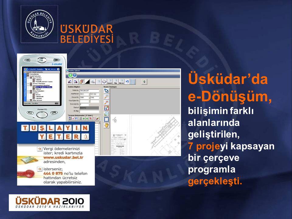 Üsküdar'da e-Dönüşüm, bilişimin farklı alanlarında geliştirilen, 7 projeyi kapsayan bir çerçeve programla gerçekleşti.