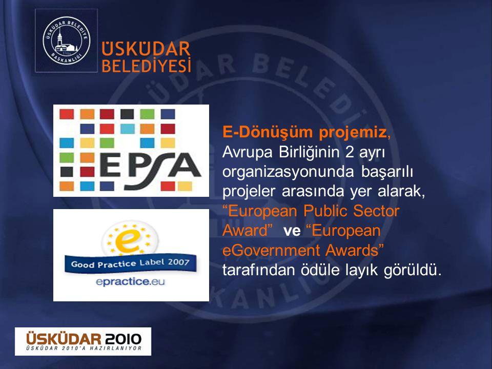 E-Dönüşüm projemiz, Avrupa Birliğinin 2 ayrı organizasyonunda başarılı projeler arasında yer alarak, European Public Sector Award ve European eGovernment Awards tarafından ödüle layık görüldü.