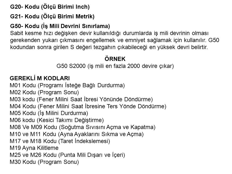 G20- Kodu (Ölçü Birimi Inch) G21- Kodu (Ölçü Birimi Metrik) G50- Kodu (İş Mili Devrini Sınırlama) Sabit kesme hızı değişken devir kullanıldığı durumla