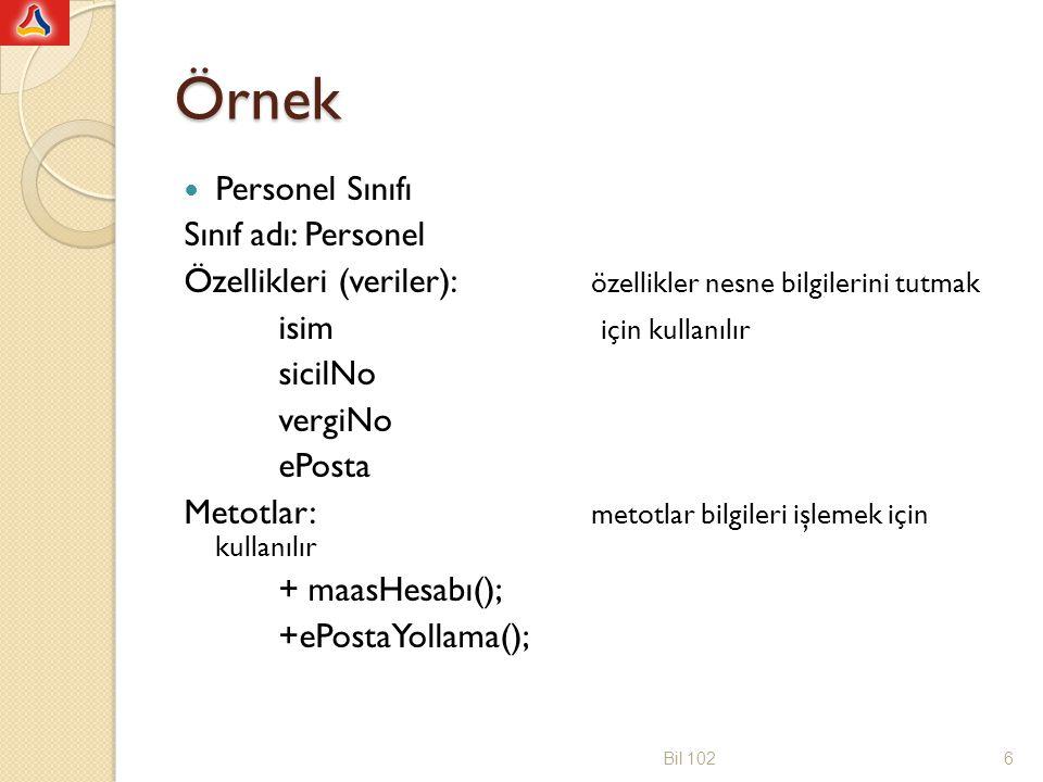 Örnek Nesne adı: bilgisayarMuhBlmBaskani Özellikler: isim: Erdogan Dogdu sicilNo: Axxx vergiNo: 900xxxxx ePosta: edogdu@etu.edu.tr Bil 1027