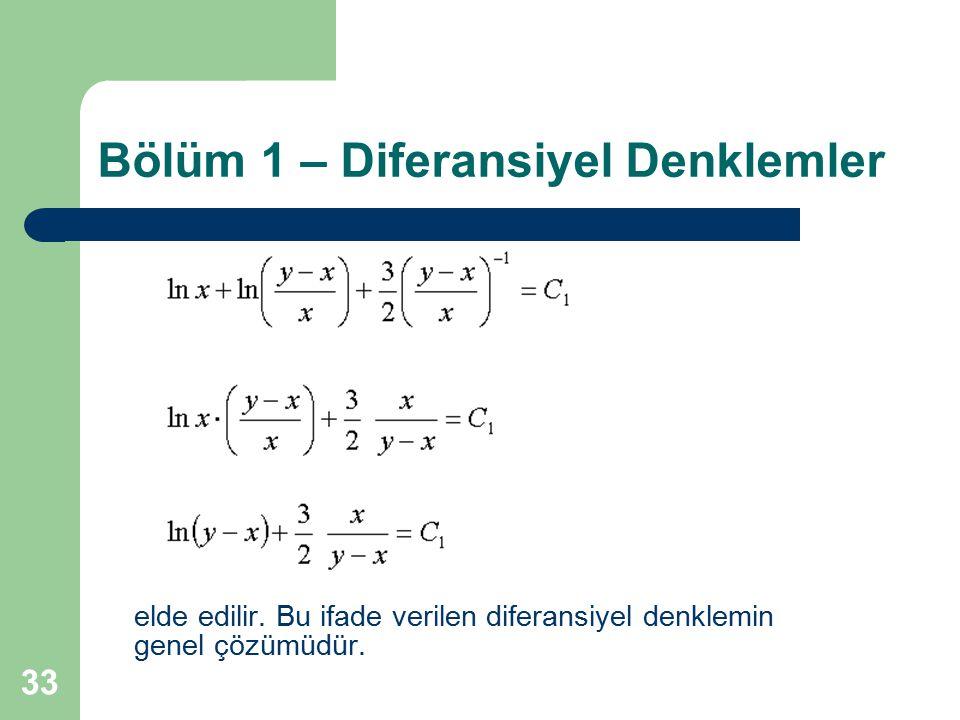 33 Bölüm 1 – Diferansiyel Denklemler elde edilir. Bu ifade verilen diferansiyel denklemin genel çözümüdür.