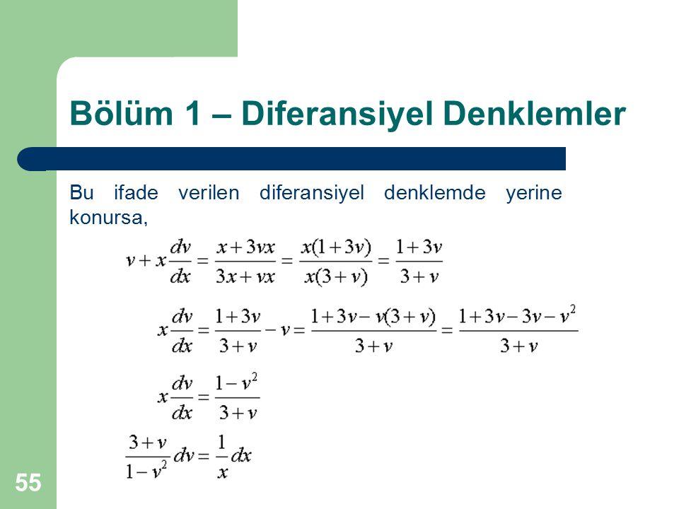 55 Bölüm 1 – Diferansiyel Denklemler Bu ifade verilen diferansiyel denklemde yerine konursa,