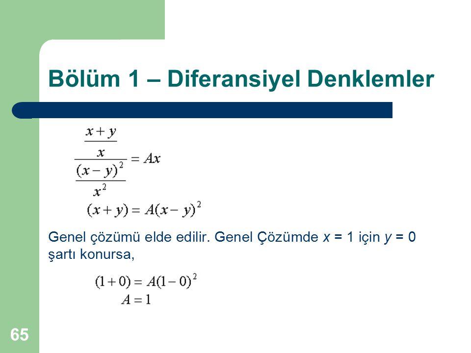 65 Bölüm 1 – Diferansiyel Denklemler Genel çözümü elde edilir. Genel Çözümde x = 1 için y = 0 şartı konursa,