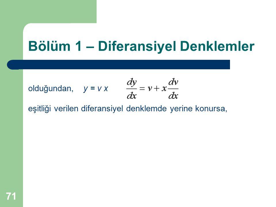 71 Bölüm 1 – Diferansiyel Denklemler olduğundan,y = v x eşitliği verilen diferansiyel denklemde yerine konursa,