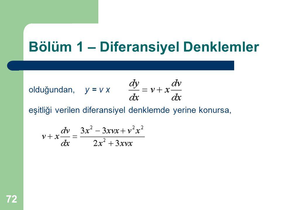 72 Bölüm 1 – Diferansiyel Denklemler olduğundan,y = v x eşitliği verilen diferansiyel denklemde yerine konursa,