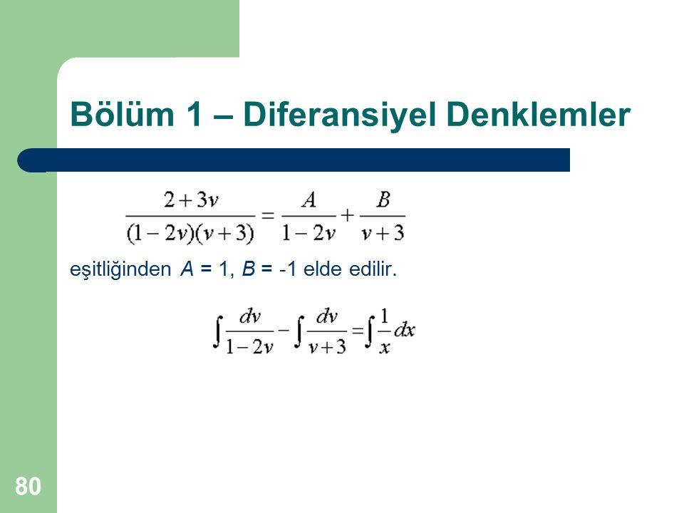 80 Bölüm 1 – Diferansiyel Denklemler eşitliğinden A = 1, B = -1 elde edilir.