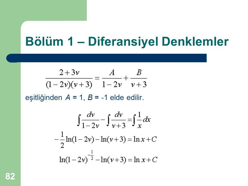 82 Bölüm 1 – Diferansiyel Denklemler eşitliğinden A = 1, B = -1 elde edilir.