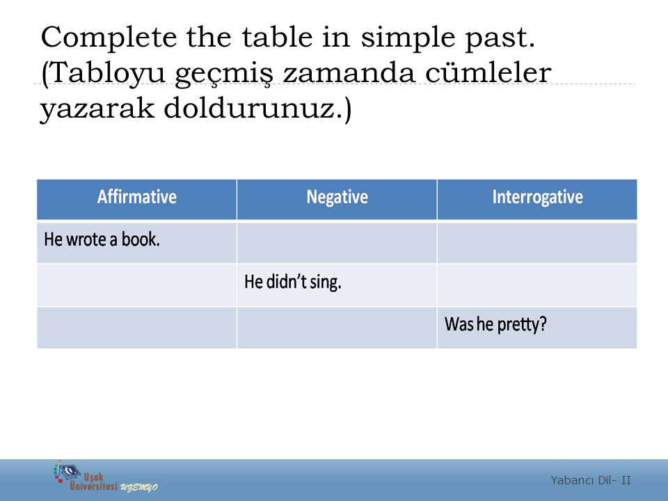 Complete the table in simple past.