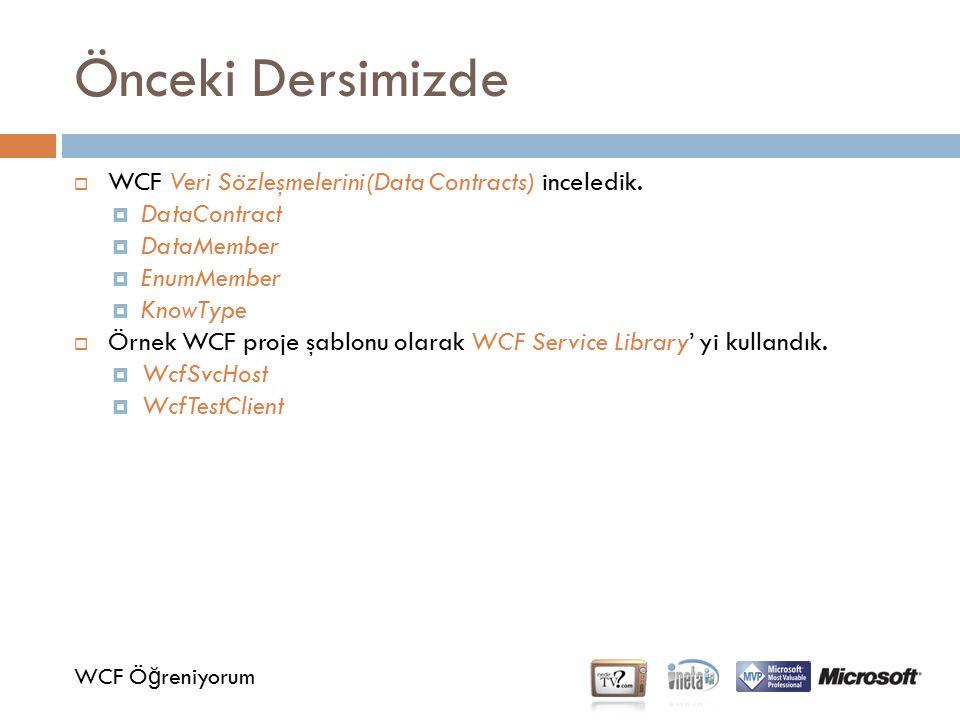 Önceki Dersimizde WCF Ö ğ reniyorum  WCF Veri Sözleşmelerini(Data Contracts) inceledik.  DataContract  DataMember  EnumMember  KnowType  Örnek W