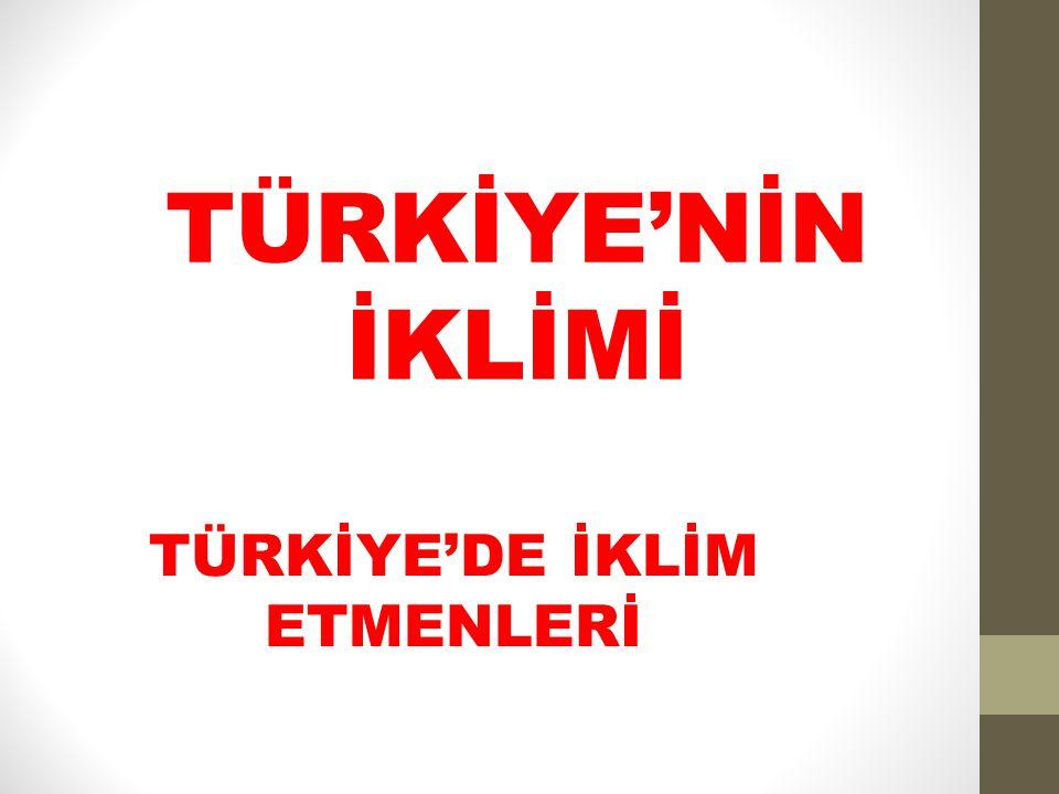 TÜRKİYE'NİN İKLİMİ TÜRKİYE'DE İKLİM ETMENLERİ