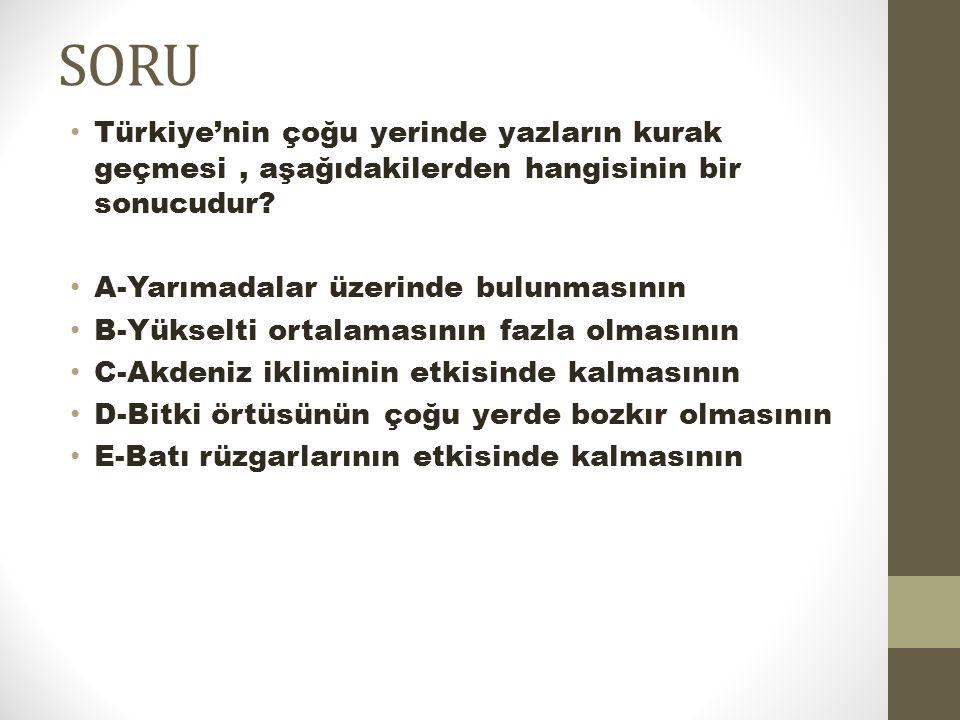 SORU Türkiye'nin çoğu yerinde yazların kurak geçmesi, aşağıdakilerden hangisinin bir sonucudur? A-Yarımadalar üzerinde bulunmasının B-Yükselti ortalam