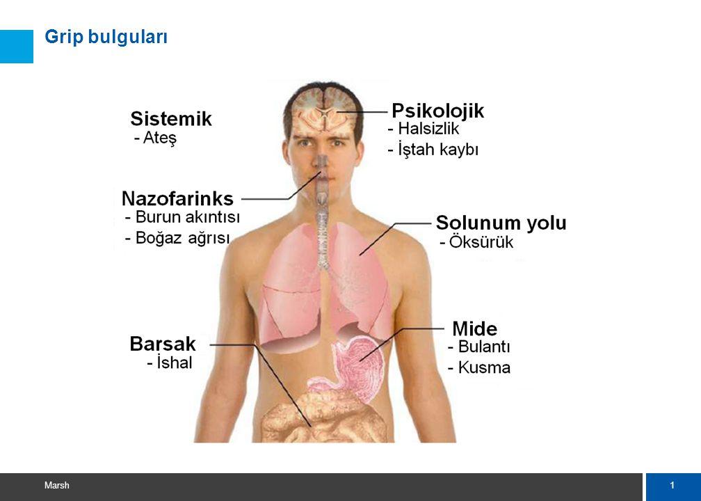 12 Marsh Hastalık durumunda  Klinik bulgulara göre; – Evde gözetim, – Yakın temaslıların gözetimi, – Bulgular hafifse ilaca gerek duyulmuyor, – Bulgular ağır seyrederse Oseltamivir (Tamiflu) veriliyor, – Komplikasyon varsa ona göre yaklaşım,  Ateşin düşürülmesi, sıvı takviyesi,  Akciğer enfeksiyonu tedavisi vb.