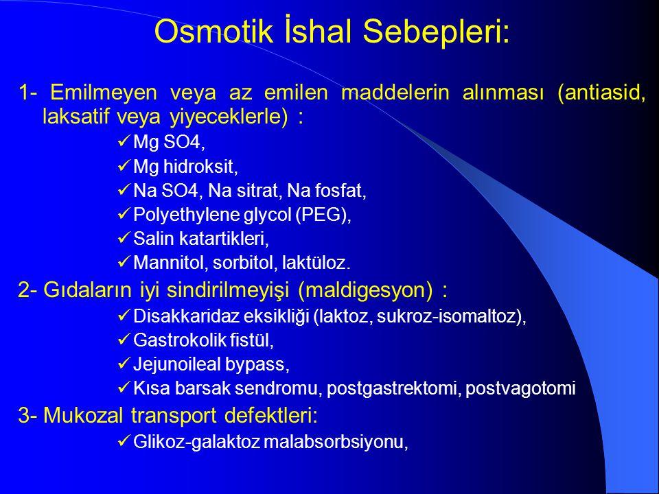 Osmotik İshal Sebepleri: 1- Emilmeyen veya az emilen maddelerin alınması (antiasid, laksatif veya yiyeceklerle) : Mg SO4, Mg hidroksit, Na SO4, Na sit