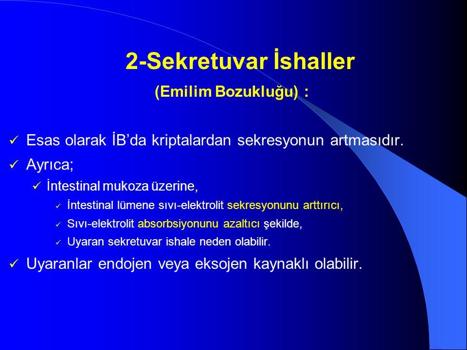 2-Sekretuvar İshaller (Emilim Bozukluğu) : Esas olarak İB'da kriptalardan sekresyonun artmasıdır. Ayrıca; İntestinal mukoza üzerine, İntestinal lümene