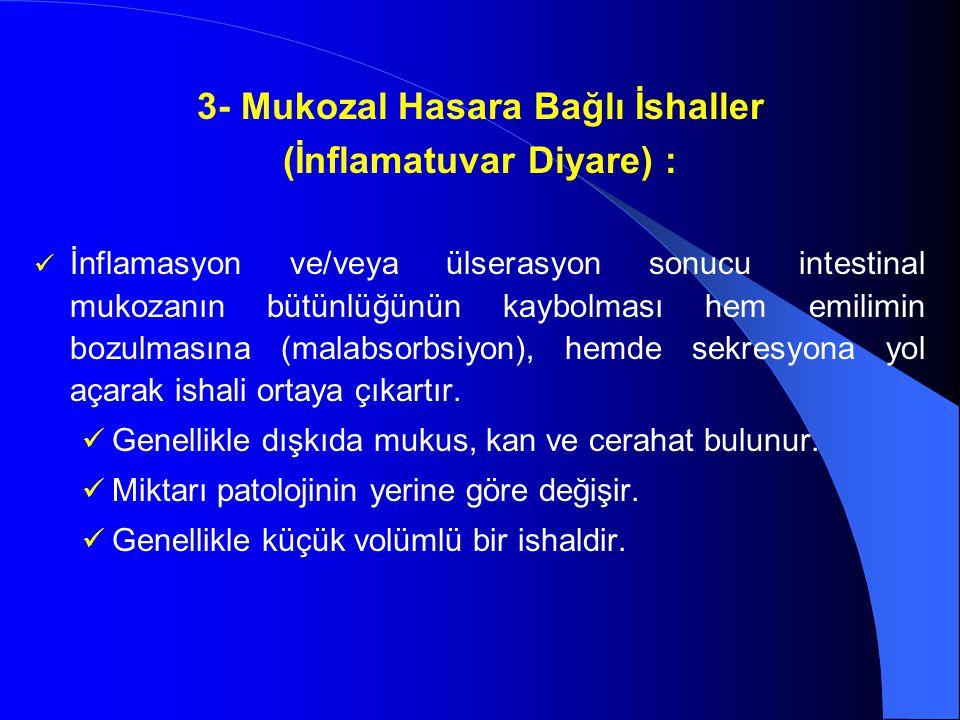 3- Mukozal Hasara Bağlı İshaller (İnflamatuvar Diyare) : İnflamasyon ve/veya ülserasyon sonucu intestinal mukozanın bütünlüğünün kaybolması hem emilim