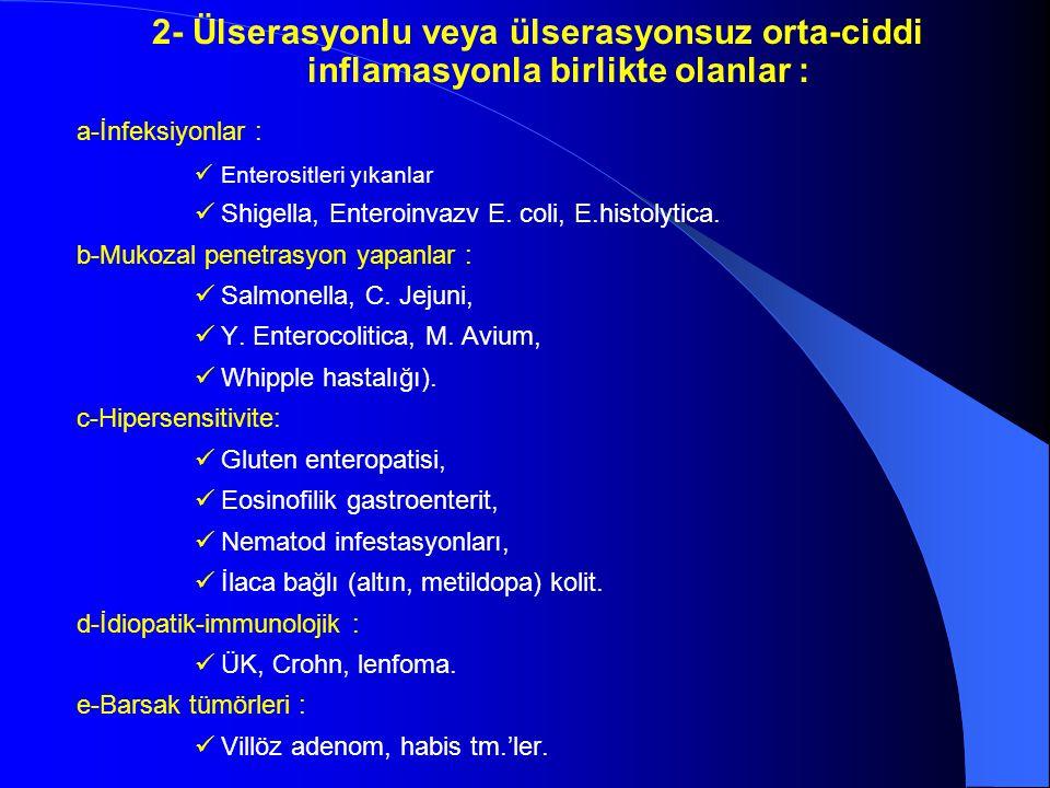2- Ülserasyonlu veya ülserasyonsuz orta-ciddi inflamasyonla birlikte olanlar : a-İnfeksiyonlar : Enterositleri yıkanlar Shigella, Enteroinvazv E. coli