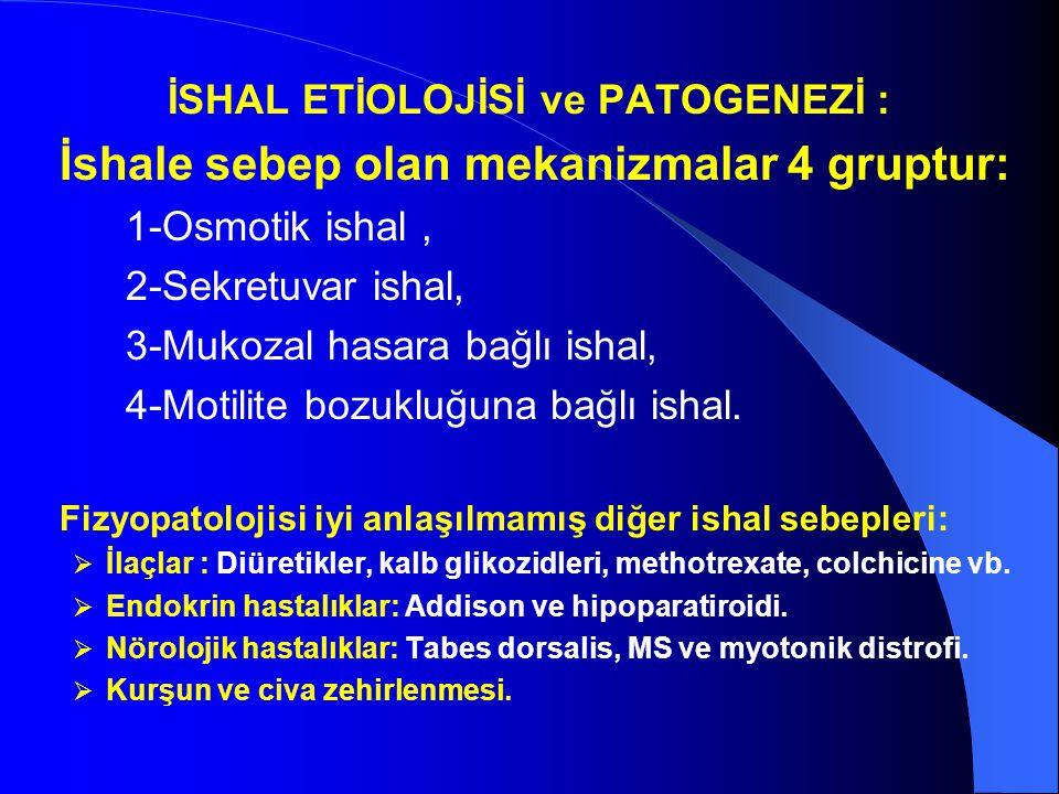 İSHAL ETİOLOJİSİ ve PATOGENEZİ : İshale sebep olan mekanizmalar 4 gruptur: 1-Osmotik ishal, 2-Sekretuvar ishal, 3-Mukozal hasara bağlı ishal, 4-Motili