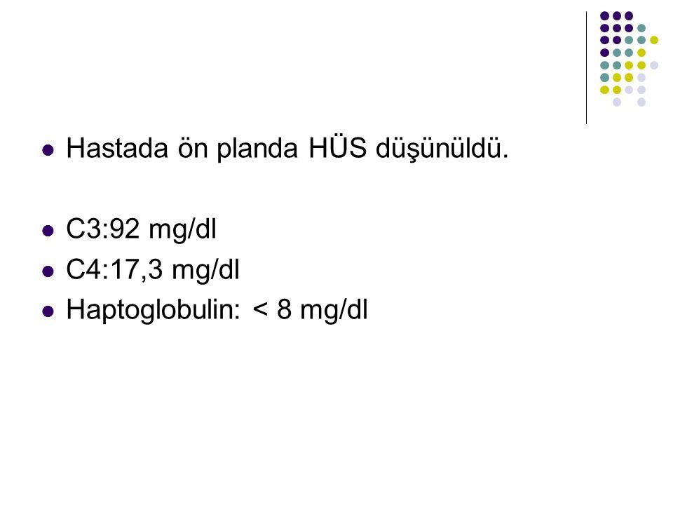 Hastada ön planda HÜS düşünüldü. C3:92 mg/dl C4:17,3 mg/dl Haptoglobulin: < 8 mg/dl