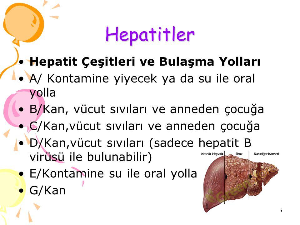 Hepatitler Hepatit Çeşitleri ve Bulaşma Yolları A/ Kontamine yiyecek ya da su ile oral yolla B/Kan, vücut sıvıları ve anneden çocuğa C/Kan,vücut sıvıları ve anneden çocuğa D/Kan,vücut sıvıları (sadece hepatit B virüsü ile bulunabilir) E/Kontamine su ile oral yolla G/Kan 16