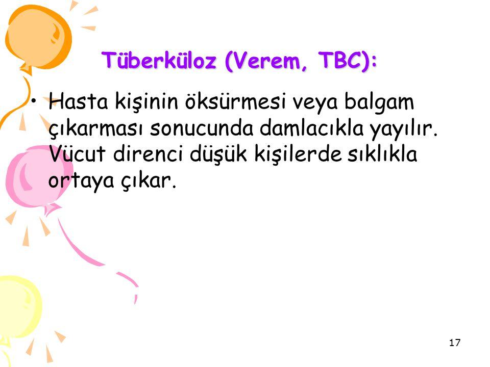 Tüberküloz (Verem, TBC): Tüberküloz (Verem, TBC): Hasta kişinin öksürmesi veya balgam çıkarması sonucunda damlacıkla yayılır.
