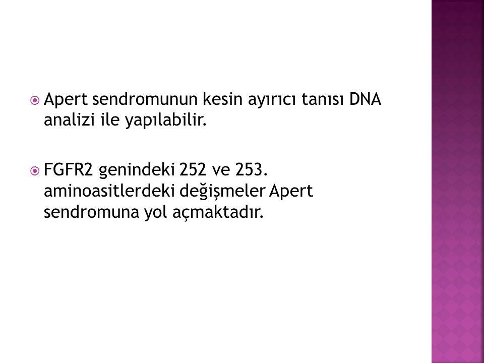  Apert sendromunun kesin ayırıcı tanısı DNA analizi ile yapılabilir.  FGFR2 genindeki 252 ve 253. aminoasitlerdeki değişmeler Apert sendromuna yol a