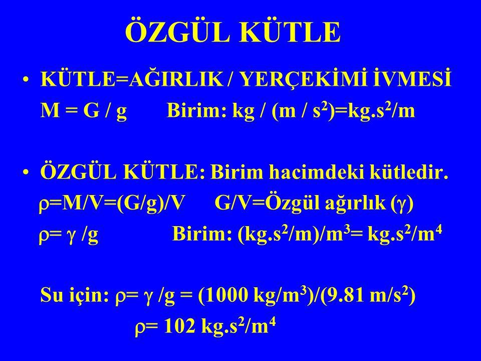 KÜTLE=AĞIRLIK / YERÇEKİMİ İVMESİ M = G / gBirim: kg / (m / s 2 )=kg.s 2 /m ÖZGÜL KÜTLE: Birim hacimdeki kütledir.  =M/V=(G/g)/VG/V=Özgül ağırlık ( 