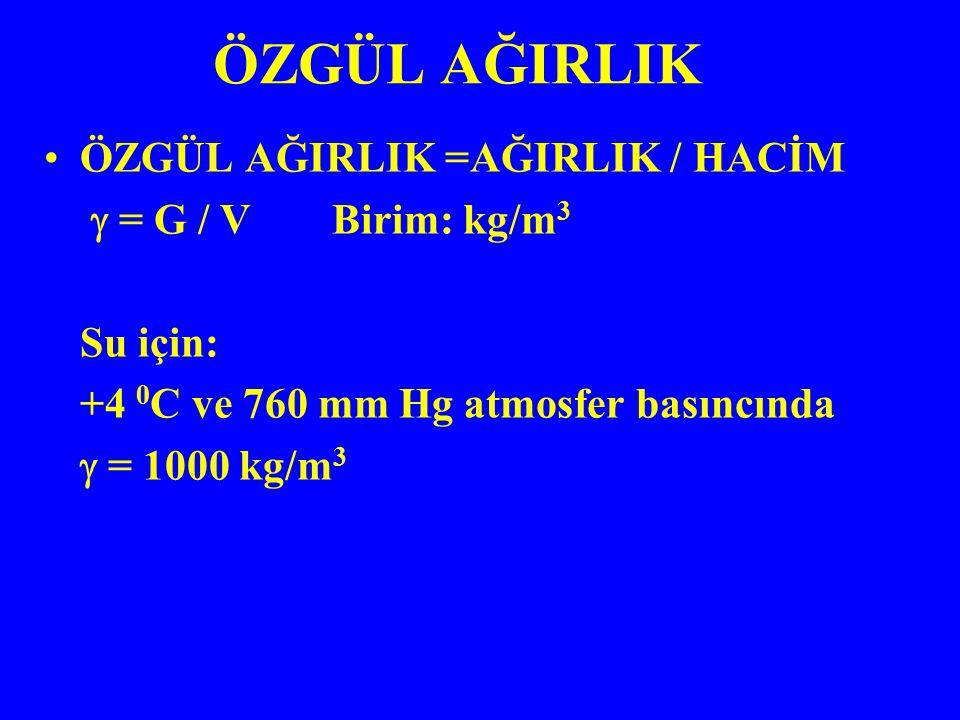 ÖZGÜL AĞIRLIK =AĞIRLIK / HACİM  = G / VBirim: kg/m 3 Su için: +4 0 C ve 760 mm Hg atmosfer basıncında  = 1000 kg/m 3 ÖZGÜL AĞIRLIK