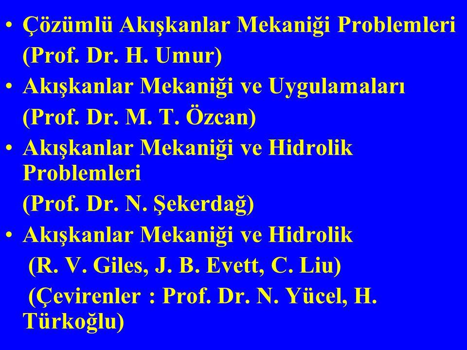 Çözümlü Akışkanlar Mekaniği Problemleri (Prof. Dr. H. Umur) Akışkanlar Mekaniği ve Uygulamaları (Prof. Dr. M. T. Özcan) Akışkanlar Mekaniği ve Hidroli