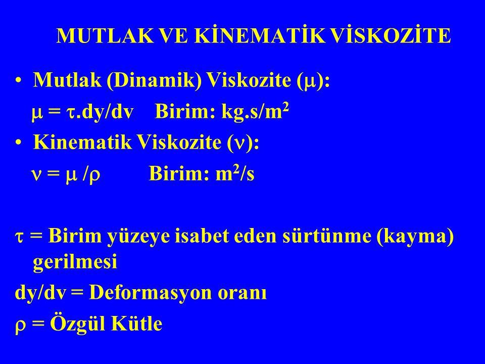 Mutlak (Dinamik) Viskozite (  ):  = . dy/dv Birim: kg.s/m 2 Kinematik Viskozite ( ): =  /  Birim: m 2 /s  = Birim yüzeye isabet eden sürtünme (k